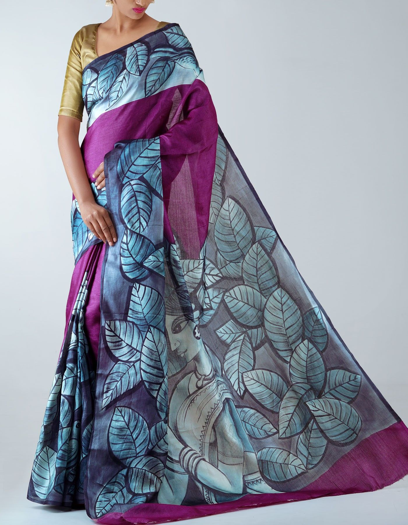 1df64cf56e Purple Pure Handloom Tussar Silk saree,It has got contemporary women modern  art grey elegant