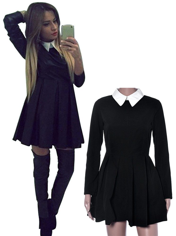 robe noire courte col blanc jupe plissee wednesday addams japan attitude v tements. Black Bedroom Furniture Sets. Home Design Ideas