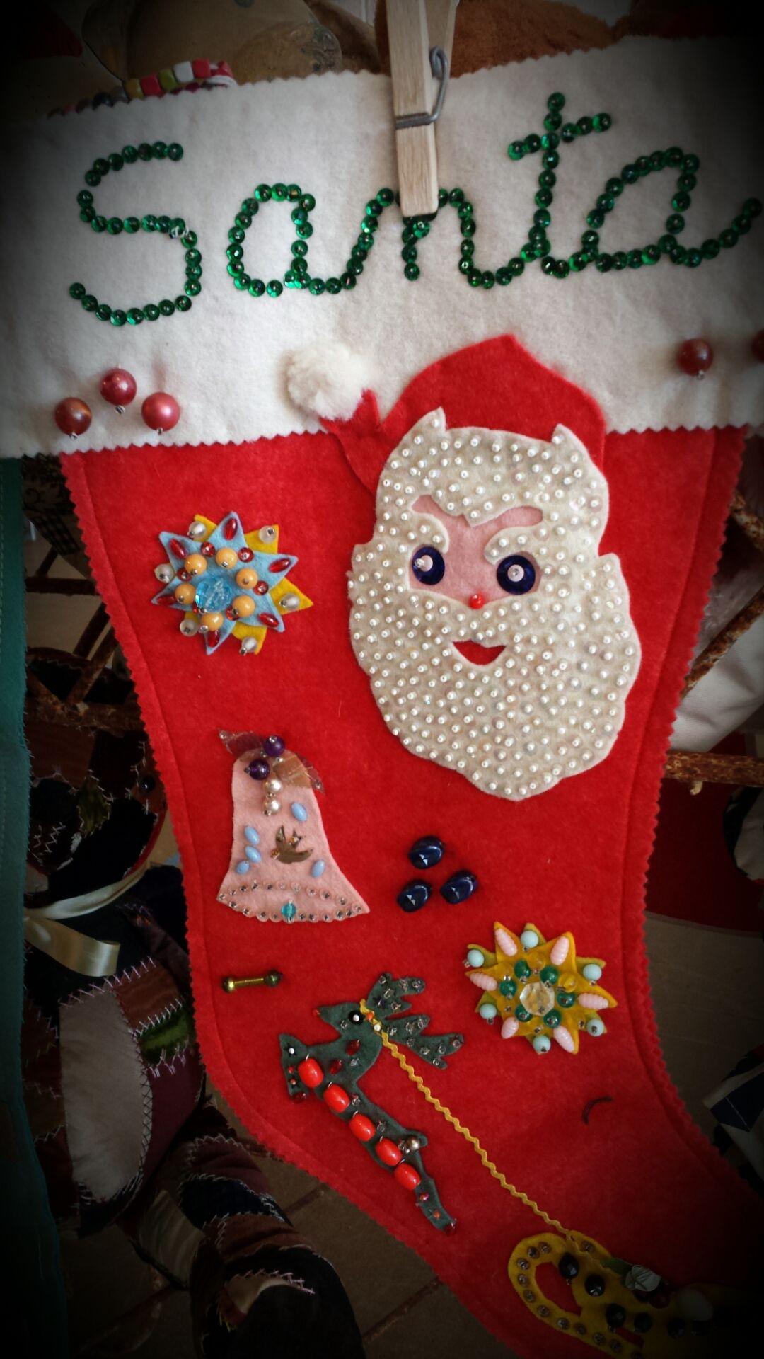 50s Handmade Christmas Stocking Santa Felt Sequins Applique Embellished