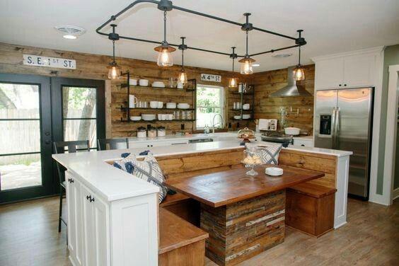 Banquette Island From Fixer Upper Fixer Upper Kitchen Kitchen Island Booth Kitchen Design