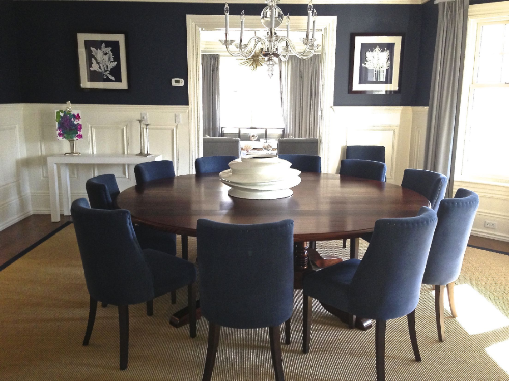 Navy Dining Room Chairs In 2020 With Images Round Dining Room Table Large Dining Room Large Dining Room Table