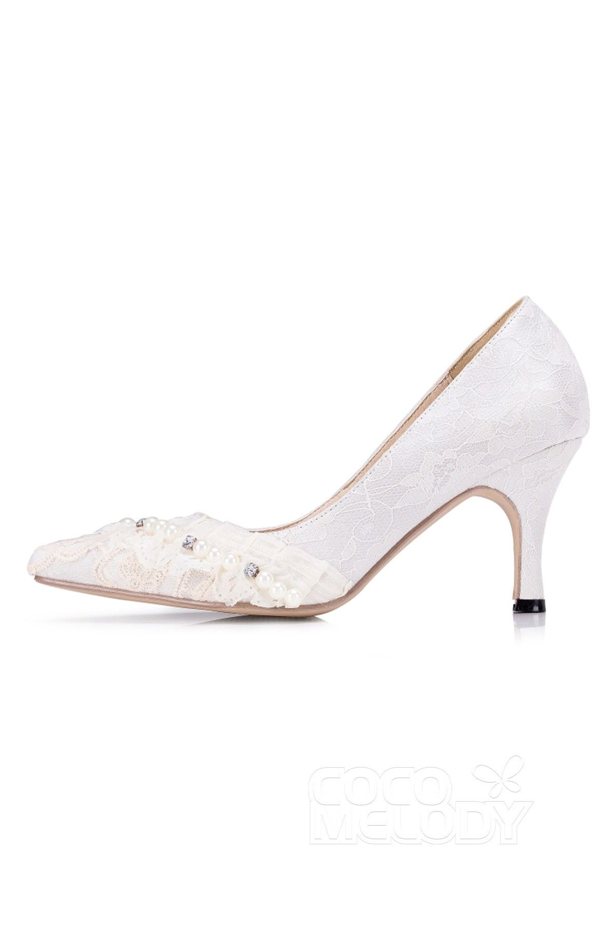 6464a5b06f72 Stiletto Heel 7.5cm Heel Lace Stitching Lace Pointed Toe Bridal Shoes  SWS16061  weddingshoes  weddingessentials  weddingaccessories  cocomelody
