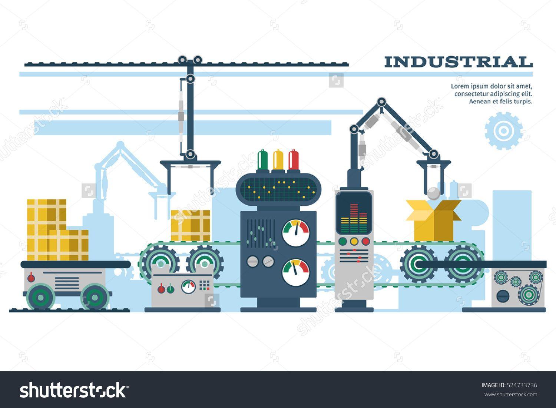 conveyor belt illustration. industrial conveyor belt line vector illustration. process production, with machinery robot illustration b