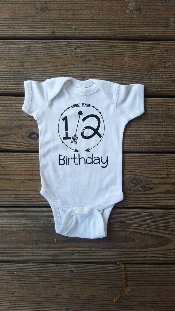 Half Birthday 6 Month Old Onesie Boy by embellishboutiquellc