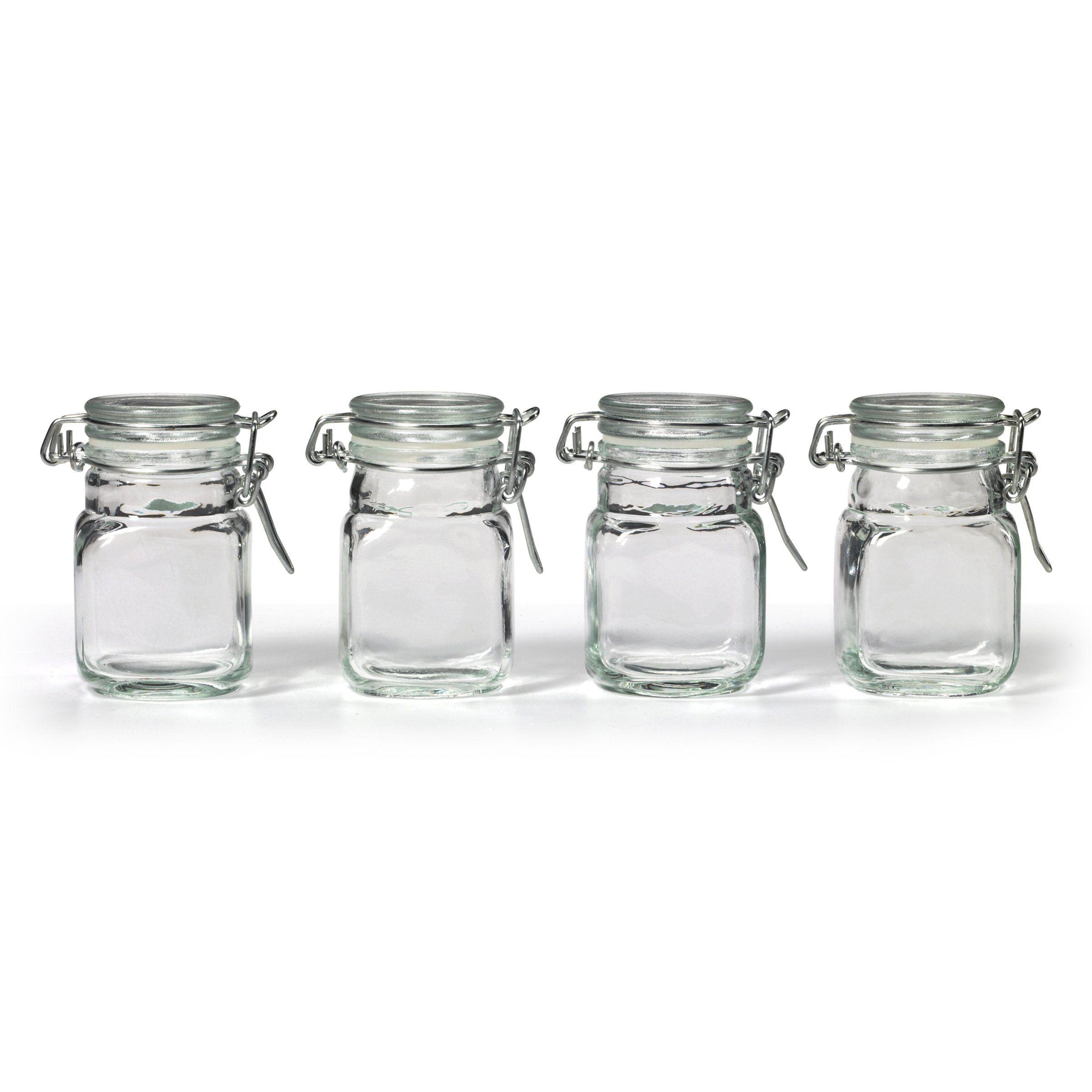Small Glass Jars,Glass Jars With Airtight Lids 4 oz
