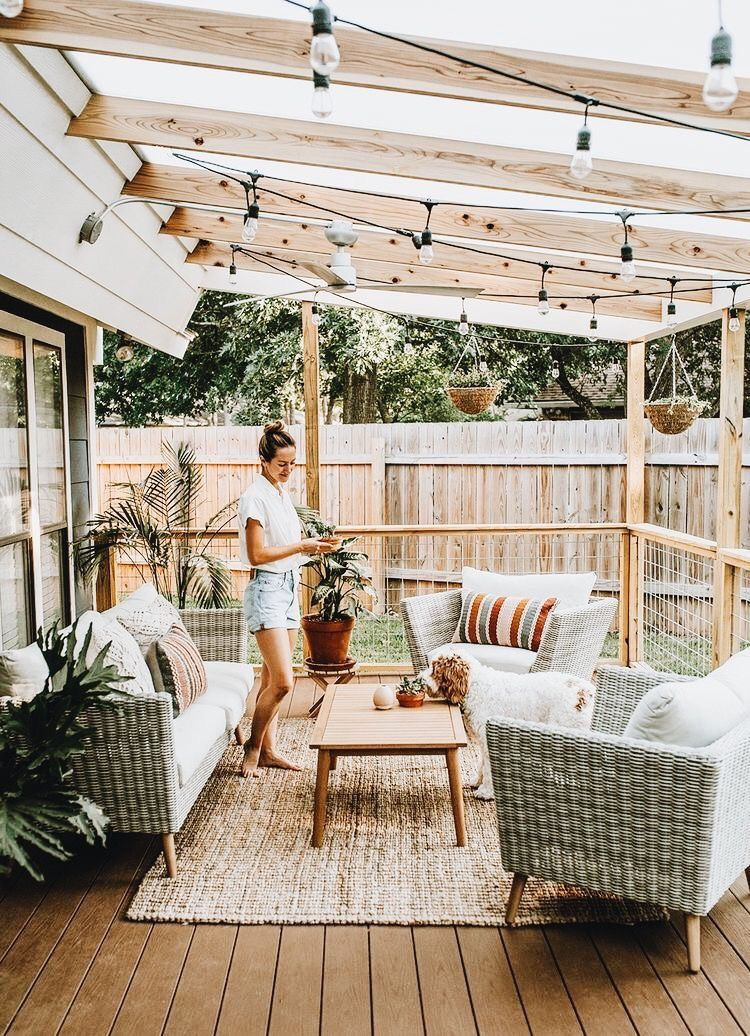 Would Love A Nice Cozy Space Just Outside The Door With A Pergola And Some Shade Outdoor Rugs Patio Patio Design Backyard Patio Designs