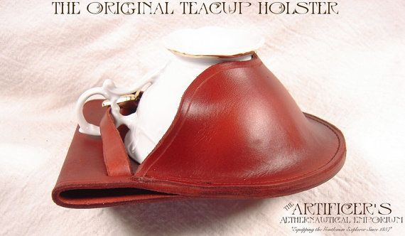 Burgundy Leather Teacup Holster with by ArtificerLeatherWork