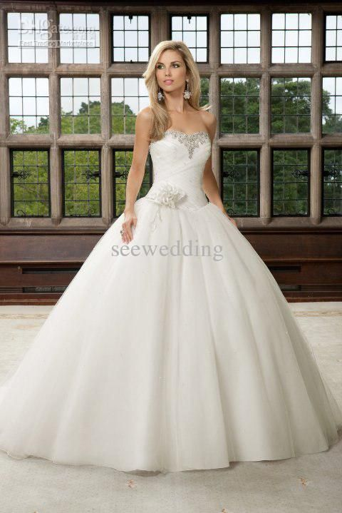 0c7b0af8c8433 Glittering Princess Wedding Dresses Strapless Crystal Beaded Ruched ...
