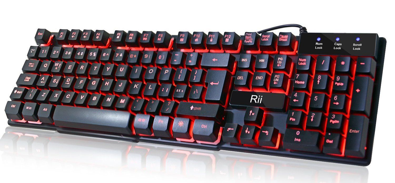 e559e997bb5 Rii RK100 3 Colors LED Backlit Mechanical Feeling USB Wired Multimedia  Keyboard For working or prime