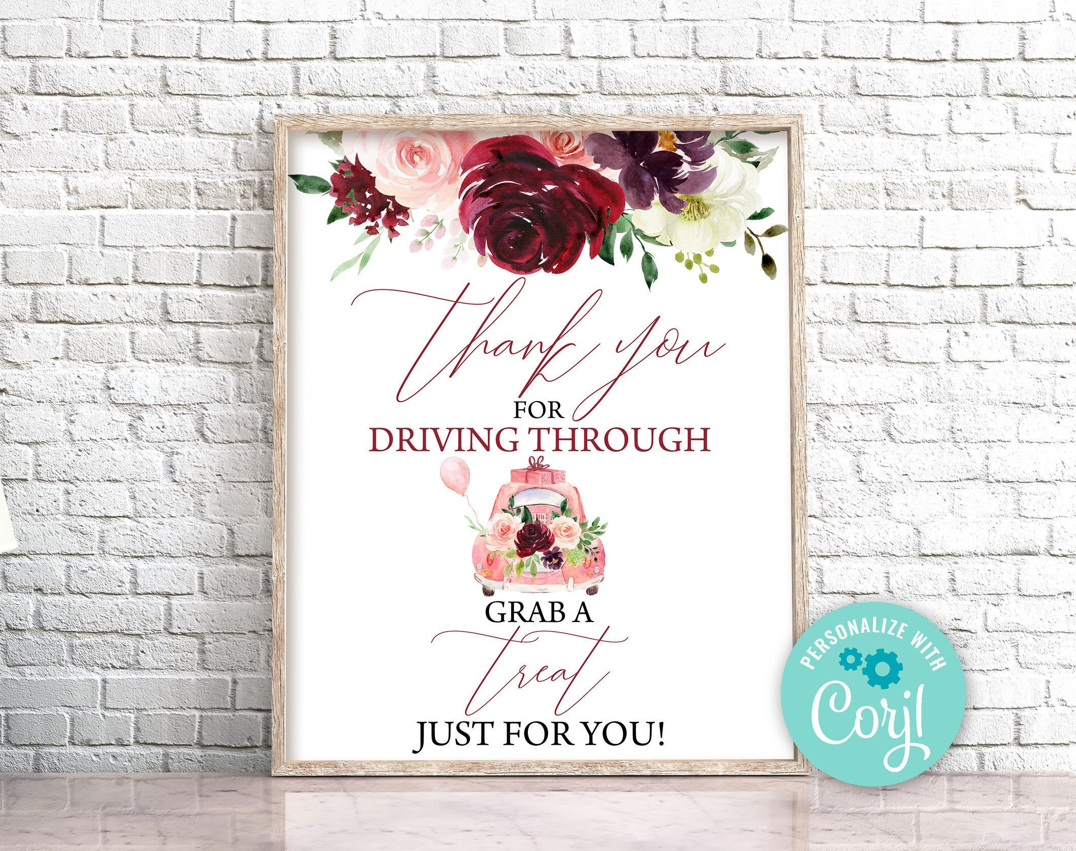 Drive by bridal shower thank you party sign burgundy