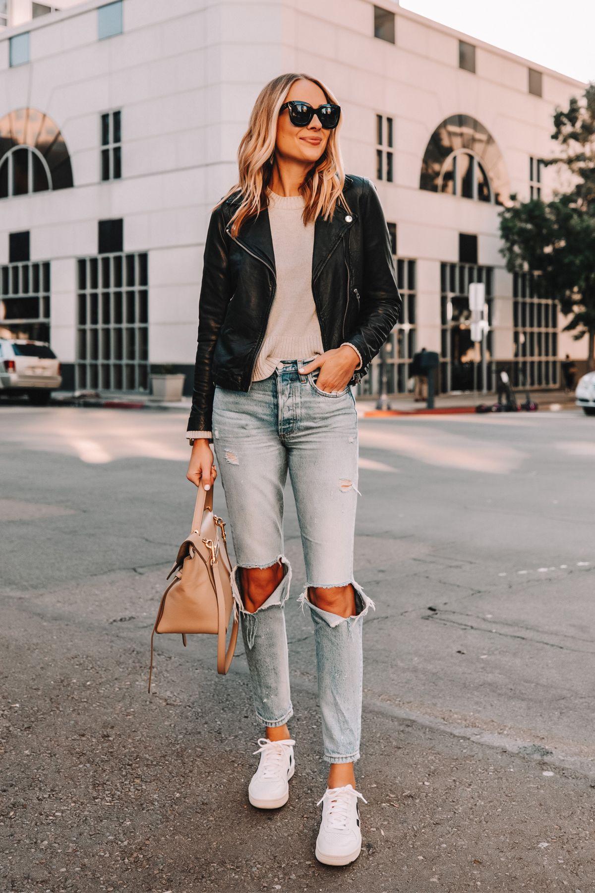 Fashion Jackson Wearing Madewell Black Leather Jacket Grey Sweater Boyish Ripped Jeans Veja V1 Leather Jacket Style Black Leather Jacket Outfit Fashion Jackson [ 1800 x 1200 Pixel ]