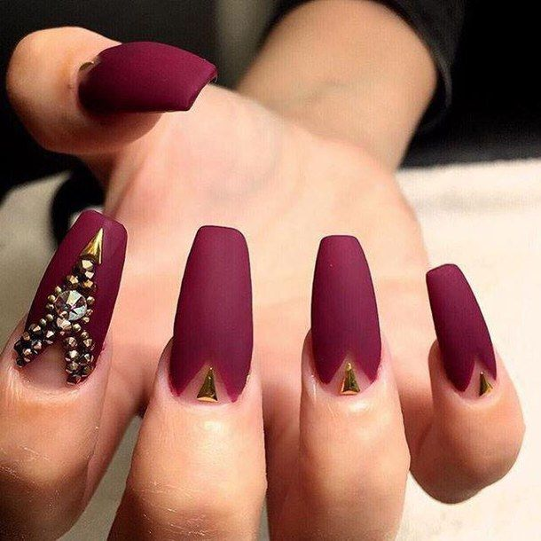 Stylish Acrylic Maroon Nails Art Pictures | Nail Designs | Pinterest ...