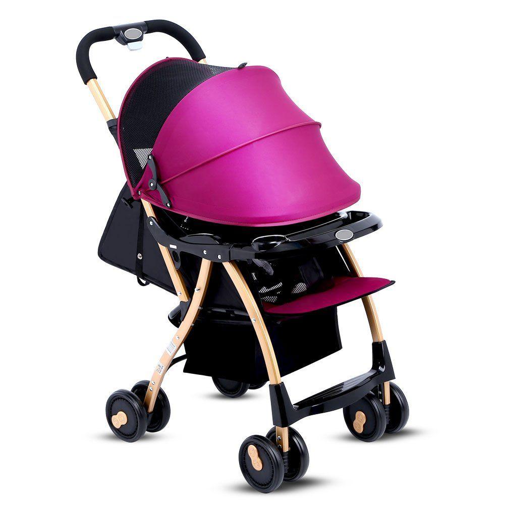 Newborn Baby Foldable Lightweight Stroller,Anti-shock High View Carriage,Infant Stroller Pushchair Pram, Adjustable Pushchair Pram with Storage Basket,for 7-36 Months(Purple)