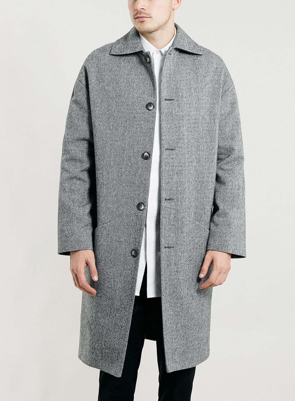 LUX GREY LONG CACOON DONEGAL SB COAT - TOPMAN EUROPE | Clothing ...