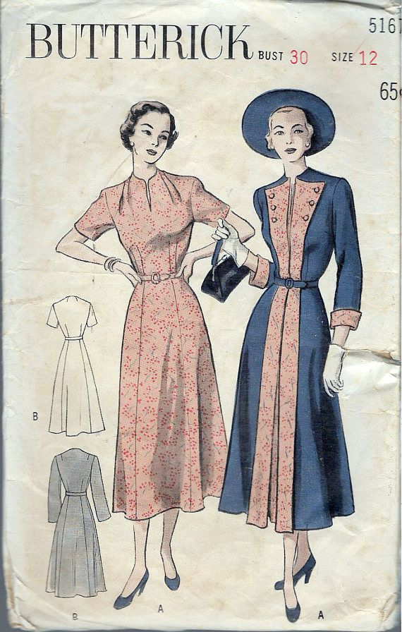 Vintage 1950 Butterick 5167 Redingote and Dress Ensemble Sewing ...