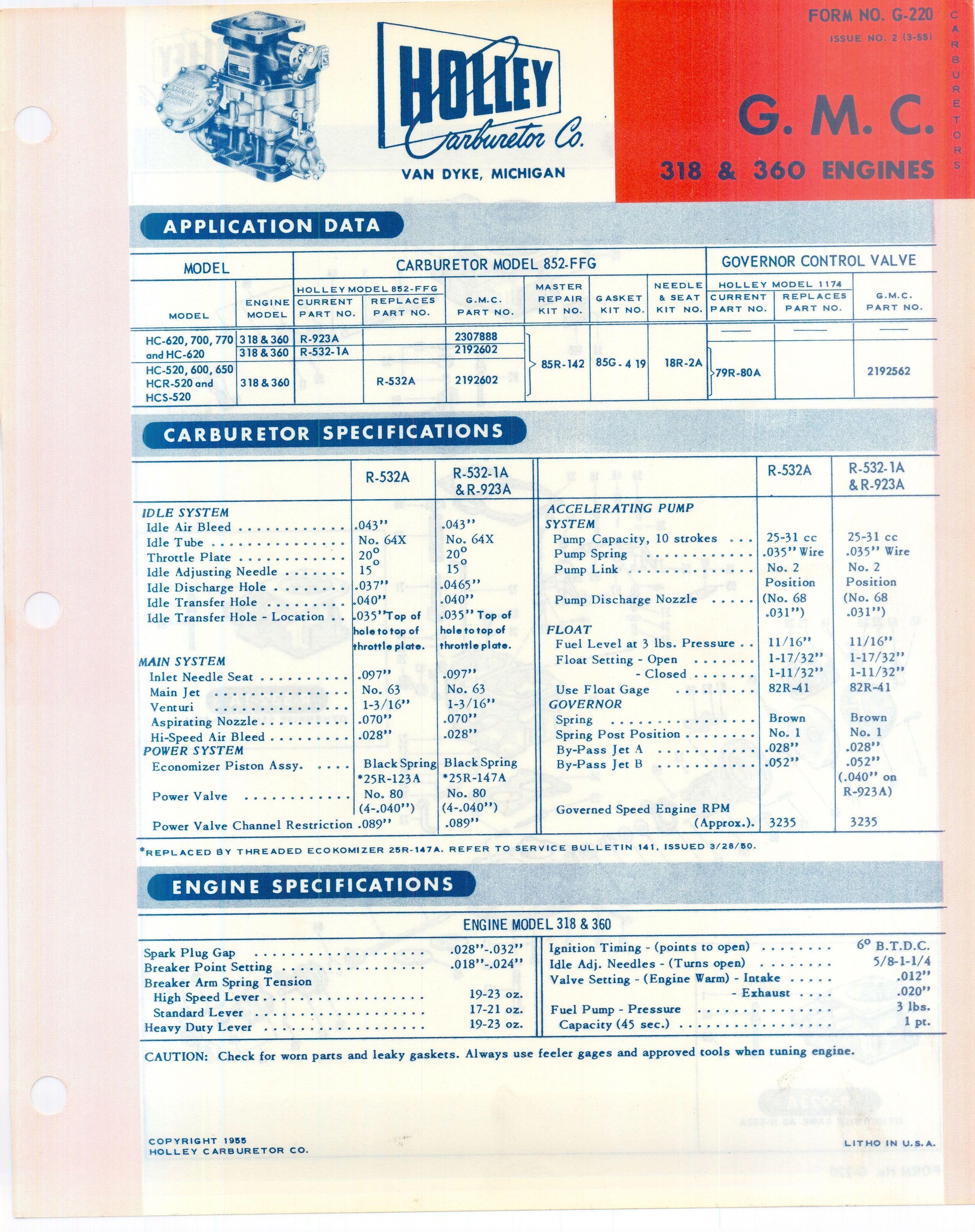 1950 S Holley Carbs For Gmc Gmcinfosheets0003 Jpg Gmc Control