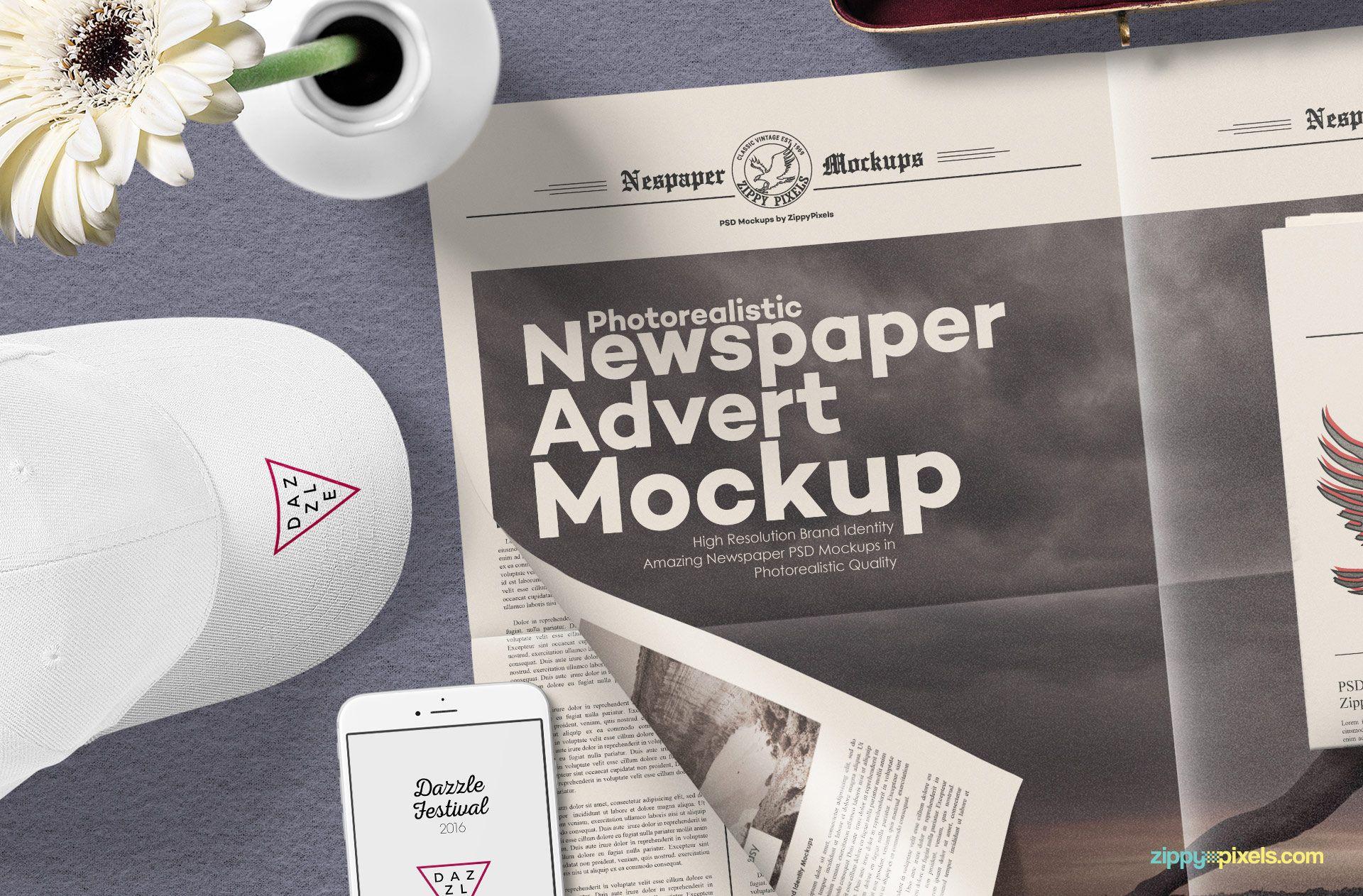 Free Newspaper Mock Up Psd Zippypixels Newspaper Mockup Advertising