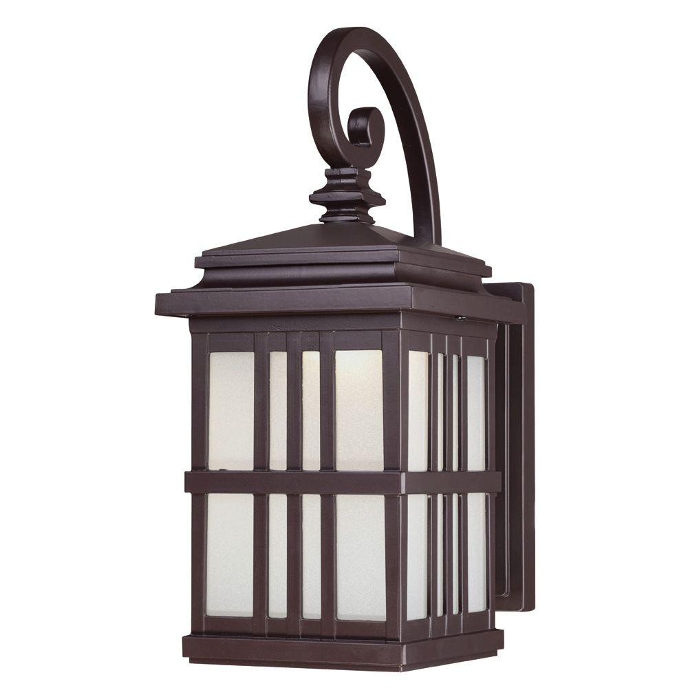 Wallmount led outdoor oil rubbed bronze cast aluminum lantern oil