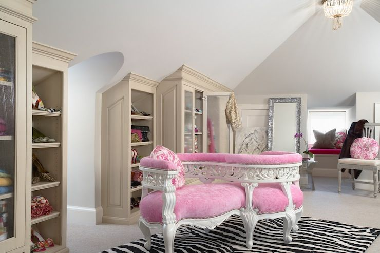 Huge Walk In Closet Dressing Room High Vaulted Ceiling Zebra Print Rug