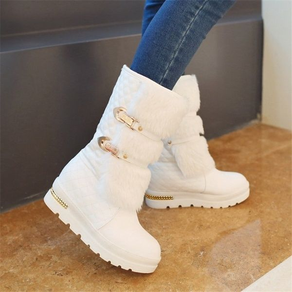 Chic Womens Hidden Wedge Fur trim Round Toe snow boots Bowknot Sweet Ankle Boots