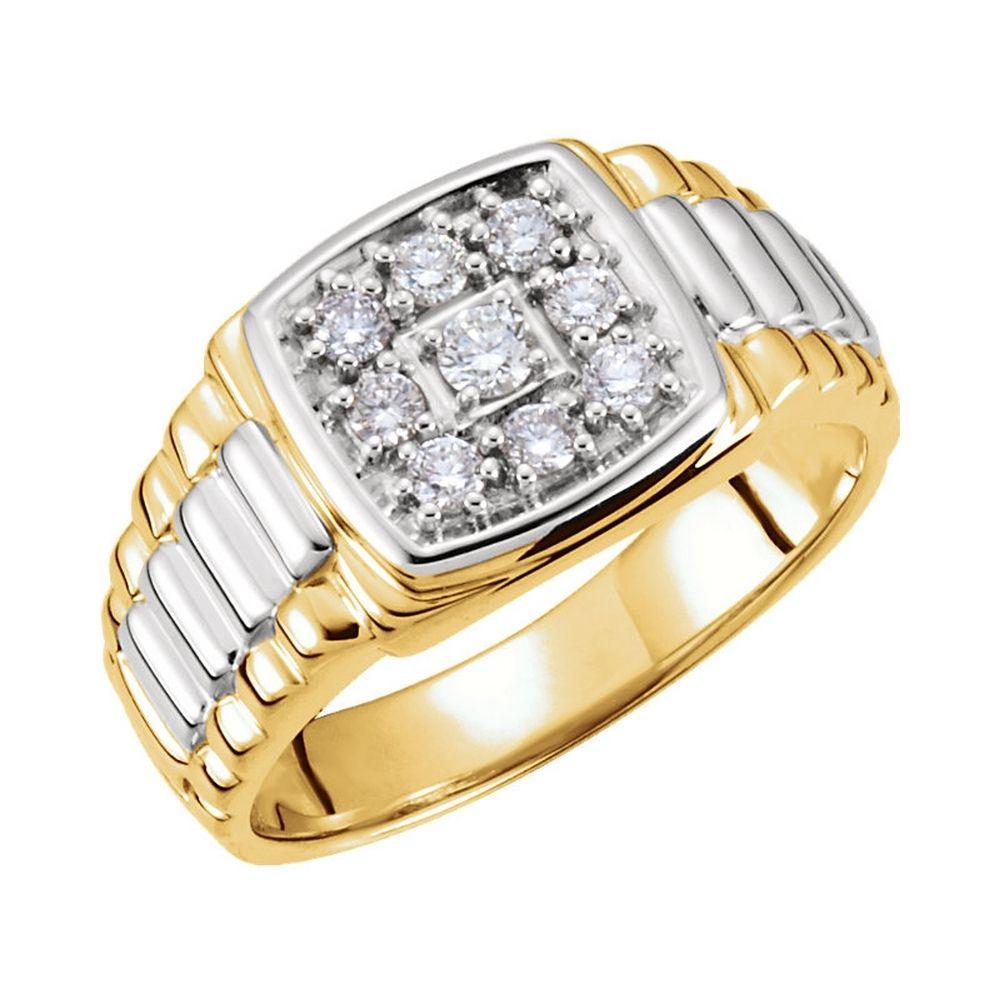 14k Two Tone Gold Mens Diamond Cluster Signet Ring Rings For Men Gents Gold Ring Men Diamond Ring