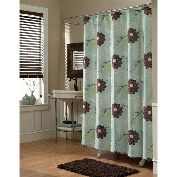 Brown And Blue My Favorite Bathroom Colors Exact Shower Curtain From Bed Bath And Beyond I Picked Fabric