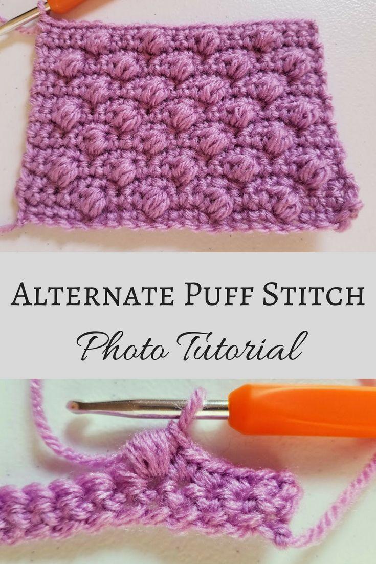 Alternate Puff Stitch Photo Tutorial #crochetstitches