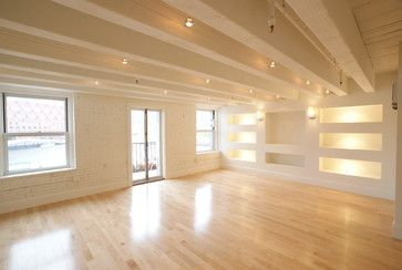 Warm And Clean Light With Maple Floor And White Wood Beams And