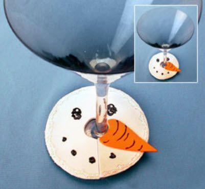 DecoArt® Snowman Face Wine Glass Cover #craft #snowman #winter