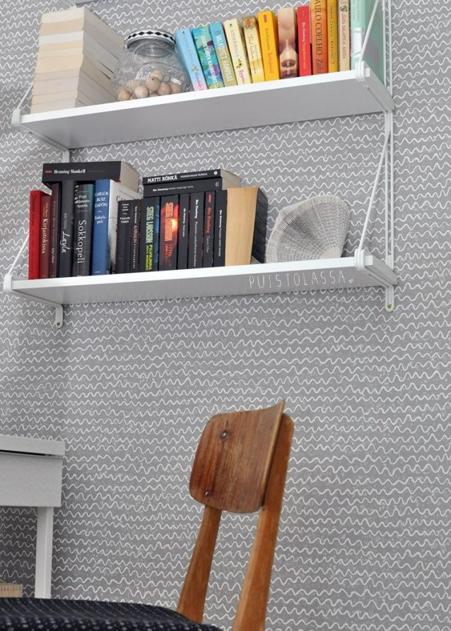 Estanter a de ikea blanca y papel de pared estilo n rdico - Estanteria nordica ...