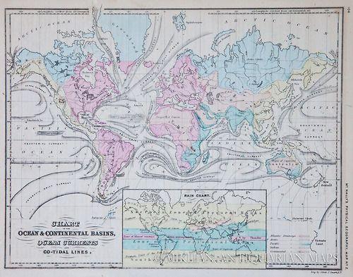 McNally map of ocean currents, 1865. Map, Ocean current