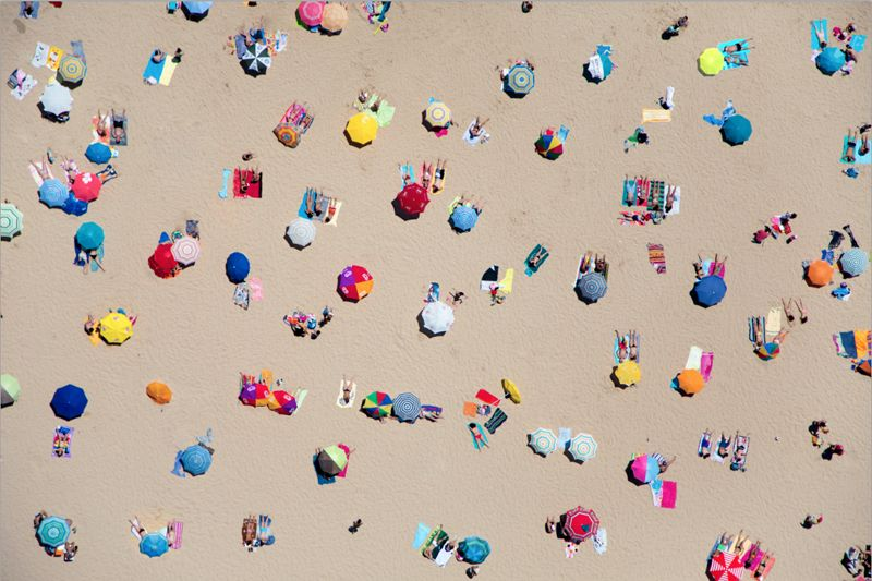 What a great photo series! Aerial beach shots from around the world...can you guess which beach is which based on sand, umbrellas and water color?