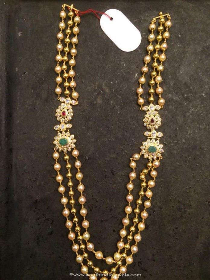 Gold Pearl Haram with Side Mogappu Gold
