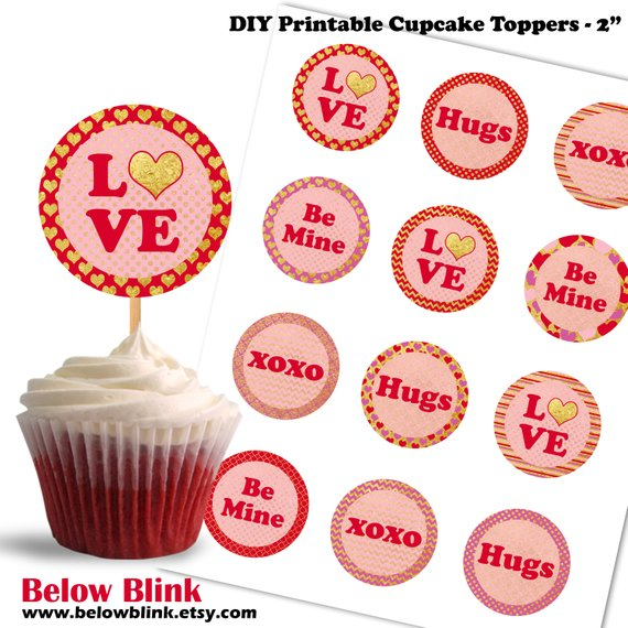 graphic regarding Printable Cupcakes named Valentines Working day Cupcake Toppers, Take pleasure in, Be Mine, Hugs