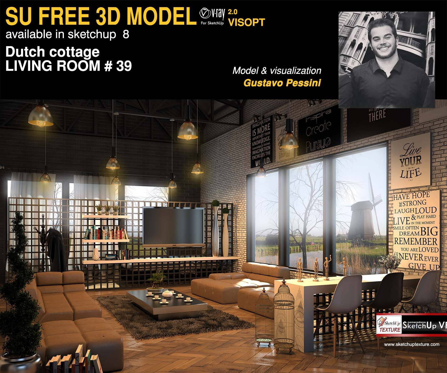Stunning Free Sketchup Model Dutch Cottage Living Room #39