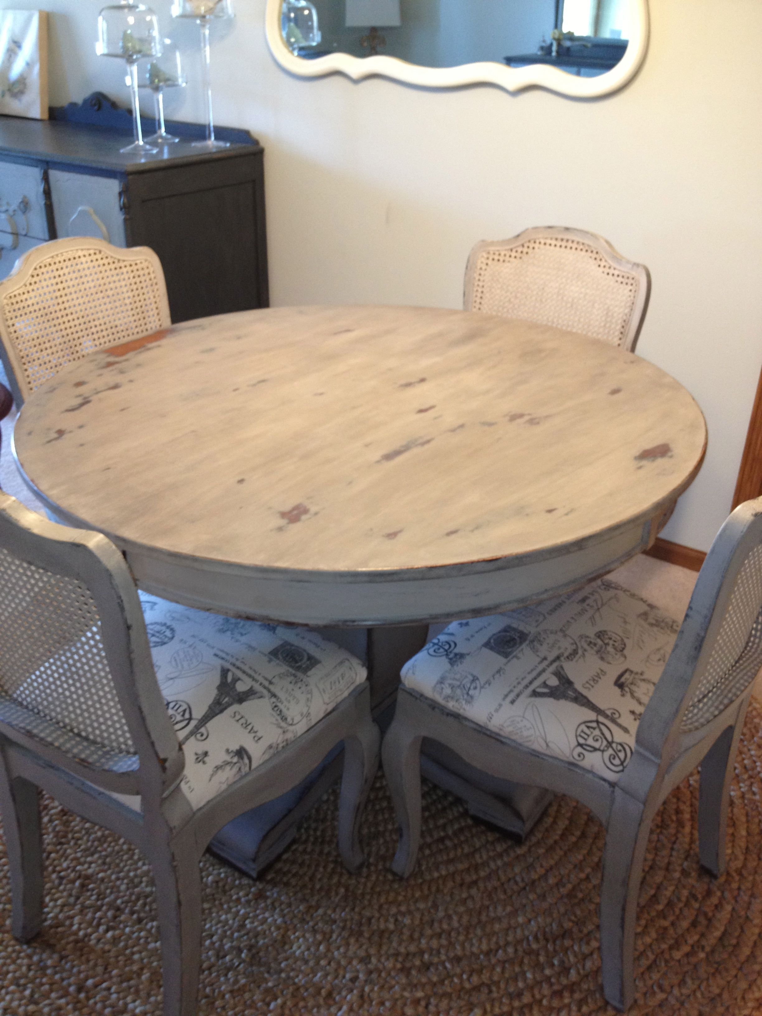Dining Table & Chairs - Refinished in CeCe Caldwell Chalk & Clay ...