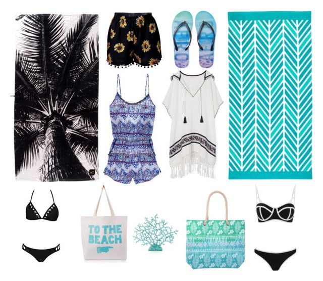 """Beach Party"" by harperruby on Polyvore featuring Aéropostale, Tory Burch, Victoria's Secret, South Beach and ALPHABET BAGS"