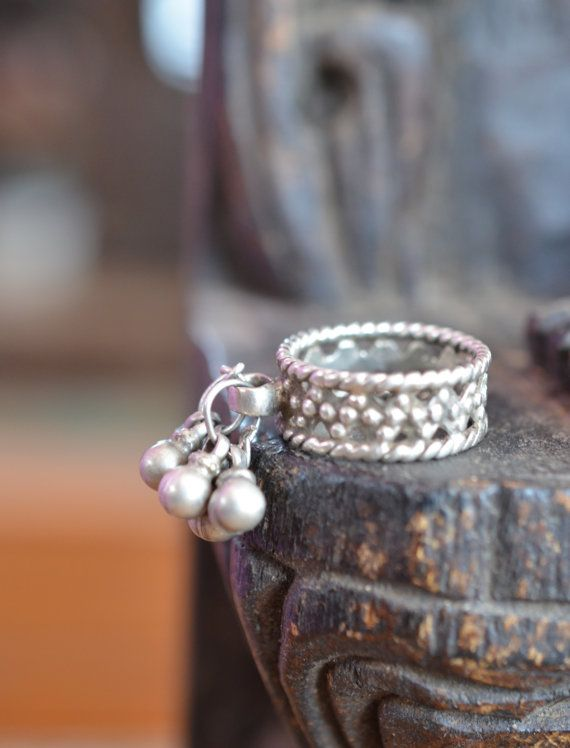 bec87c9303a Pure silver ring with bells tribal finger or toe by Faerymother