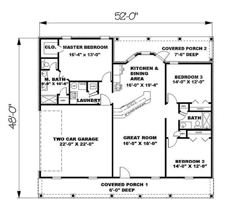 Country Ranch Floor Plan 3 Bedrms 2 Baths 1500 Sq Ft 123 1000 Ranch Style House Plans Country House Plans House Floor Plans