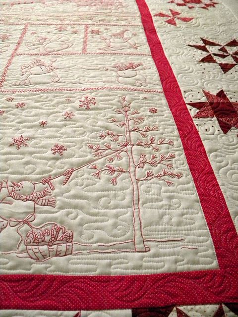 Ideas for quilting around redwork | embroidery | Pinterest | Bordado ...