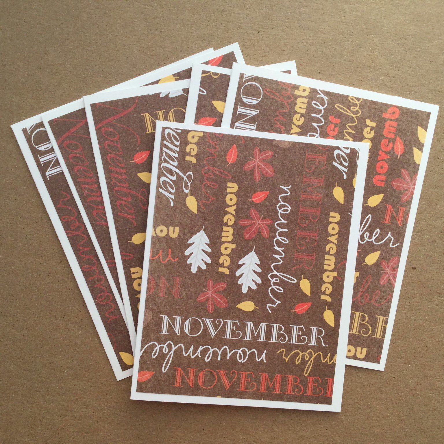 blank november greeting cards  handmade fall note cards