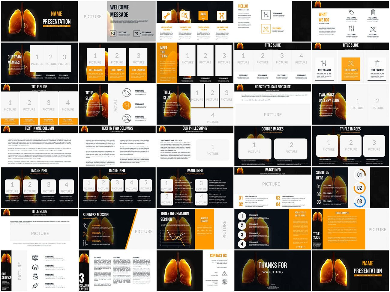 Human Anatomy Lungs Powerpoint Templates Keynote