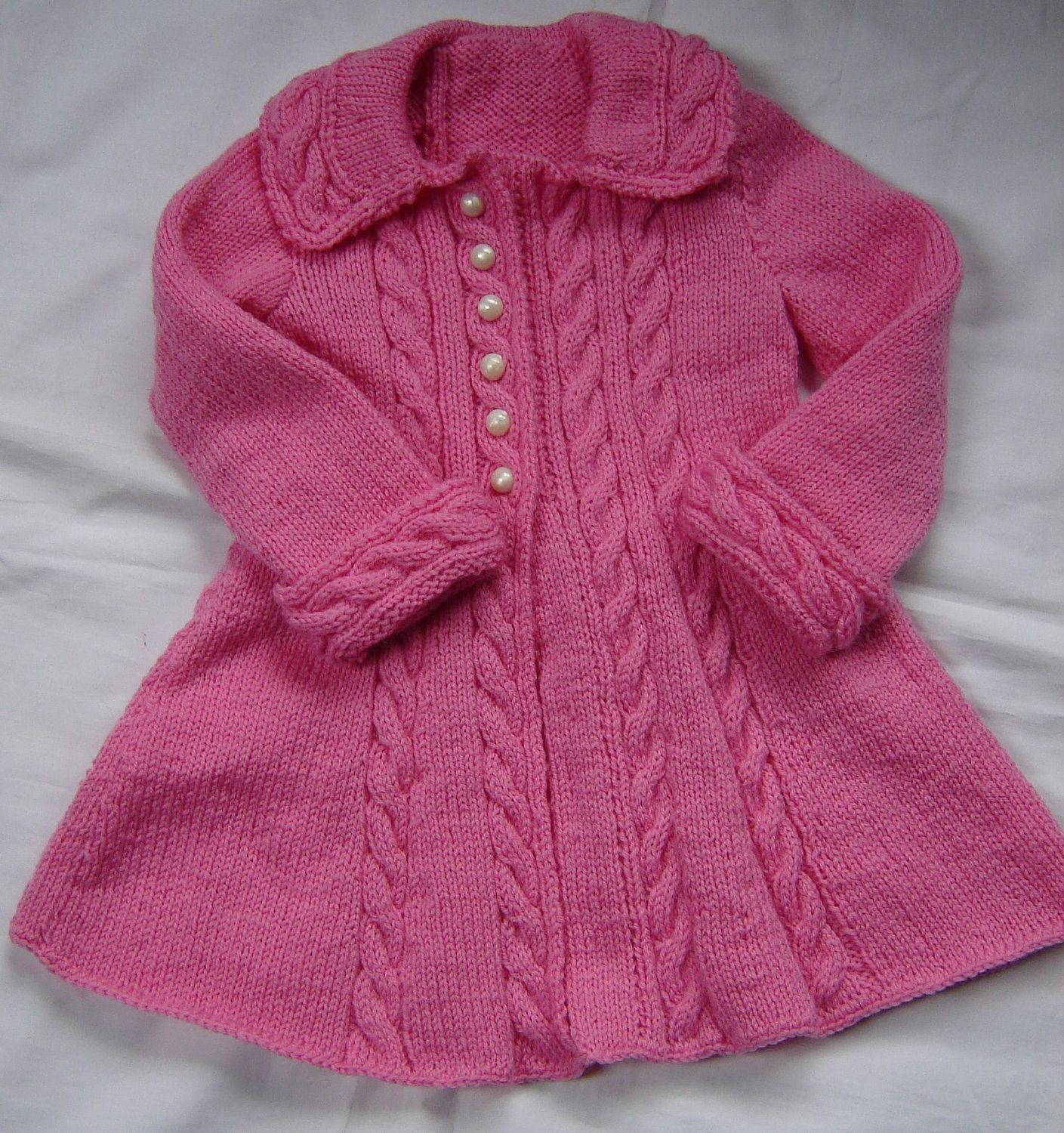 e1c3988a65ec Baby Girls Toddler Sweater Coat Swing Style Hand Knit Crochet Size ...