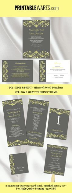 Yellow and charcoal gray wedding templates for Microsoft Word - microsoft word templates invitations