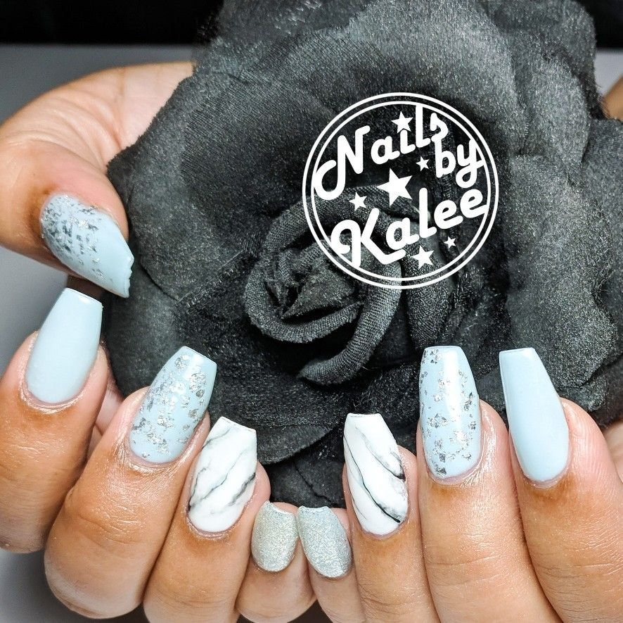 Light Blue Baby Blue Marble Coffin Nails Nails Nail Designs Hair And Nails