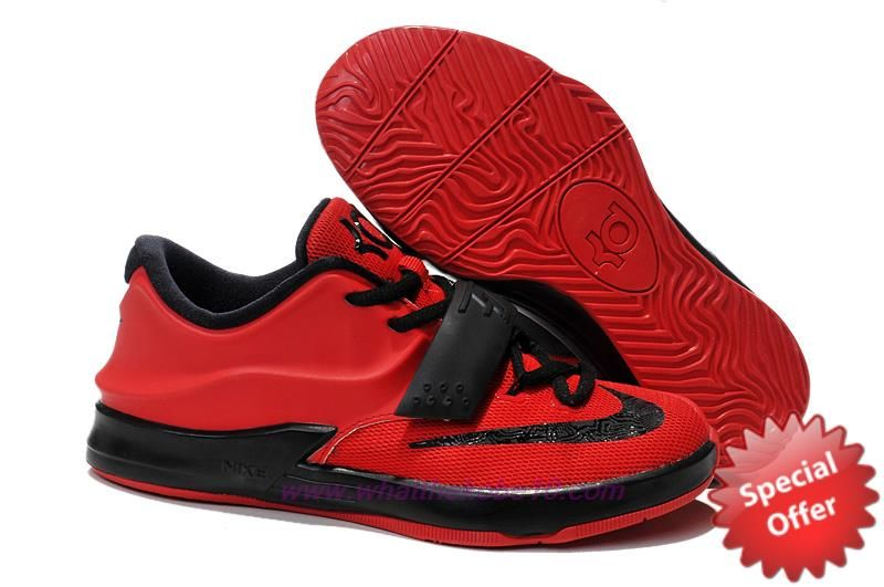 KDVII-048 Nike KD VII (7) Kids Shoes Chinese Red Black  07d29d75aa14