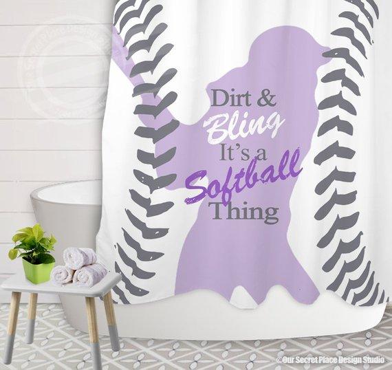Girls Shower Curtain For Girls Softball Shower Curtain Purple