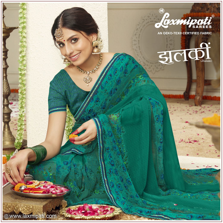 Laxmipati Georgette Sea Green saree | Saree, Saree designs