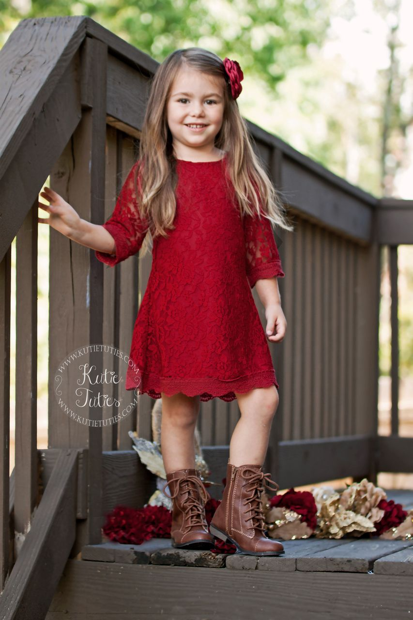 8dac4d9646186 Kutie Tuties - Deep Red Lace Dress- Flower girl dress, wedding, rustic,  vintage, ivory, white, toddler, girl, fall, Christmas, holiday