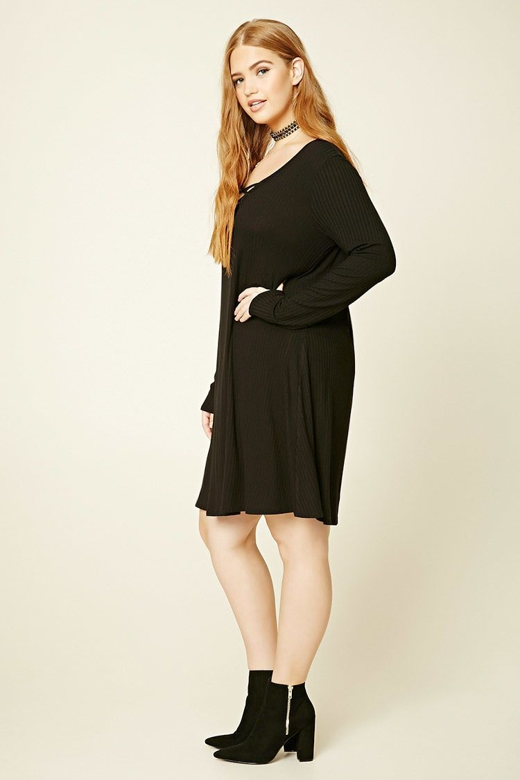 Forever 21+ - A ribbed knit swing dress featuring a V-neck with strappy crisscross front and long sleeves.